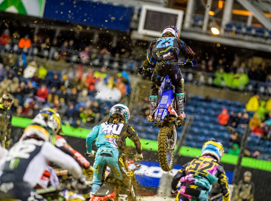 Monster athletes compete in the 2018 SX stop in Seattle