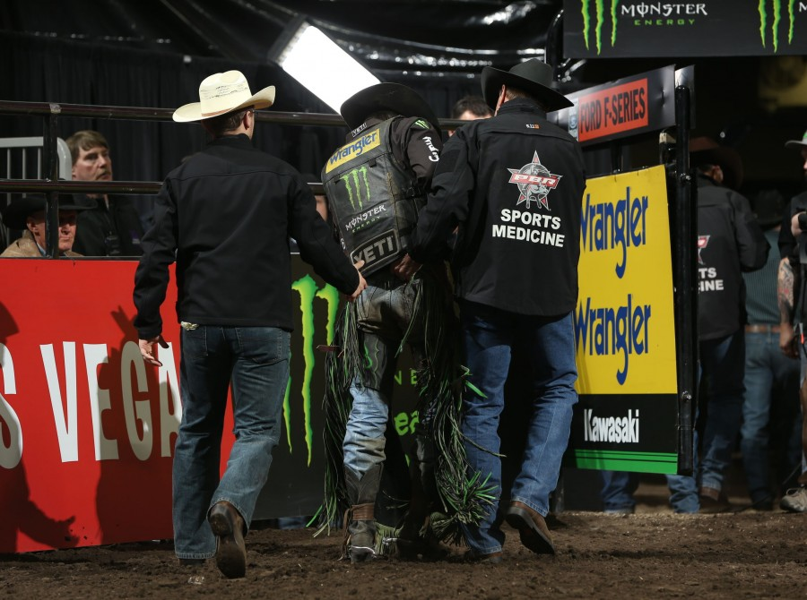 Sports Medicine tend to JB Mauney during the championship round of the Sioux Falls PBR 25th Anniversary Unleash the Beast.