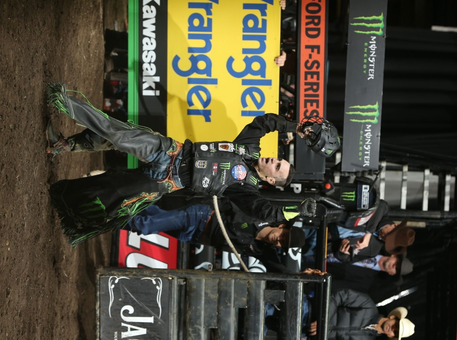 Jose Vitor Leme rides Berger Bucking Bulls's Siouxper Stinger for 89 during the championship round of the Sioux Falls PBR 25th Anniversary Unleash the Beast.