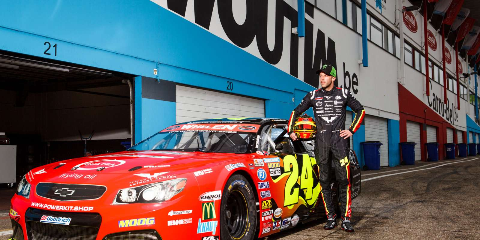 Portraits of Anthony Kumpen with his car on the grid of the Zolder racetrack in Belgium