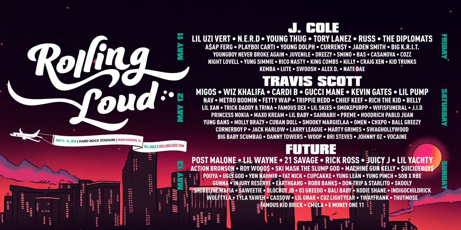 Rolling Loud Hip Hop festival 2018 admat graphics and hero