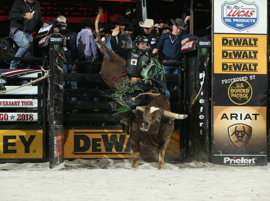 Jose Vitor Leme rides Rockin S Ranch/Cornwell Bucking Bulls's Air Bender for 83 during the second round of the Chicago Unleash the Beast PBR.