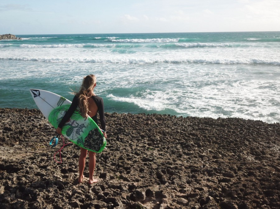 Shots of Maud Le Car surfing in the Caribbean