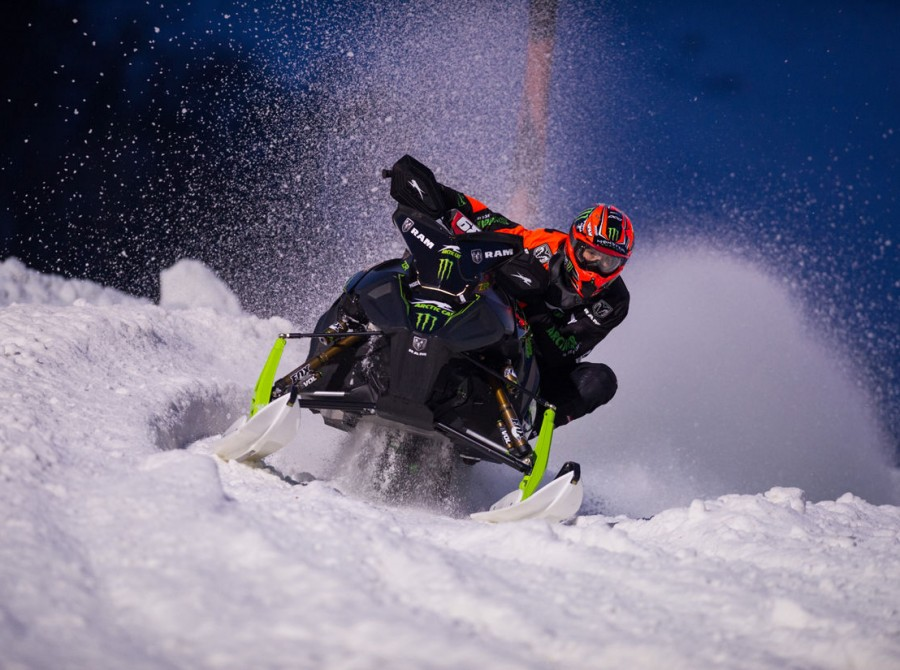 Action shots of Tucker Hibbert at the 2018 Iowa Snocross National