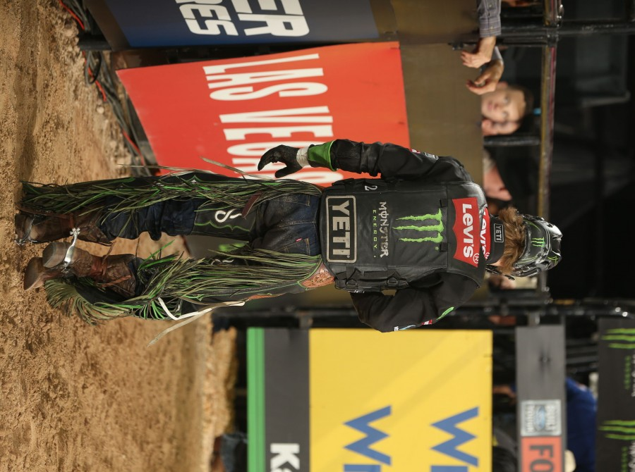 Derek Kolbaba during the first round of the Las Vegas, Last Cowboy Standing, PBR 25th Anniversary Unleash the Beast.