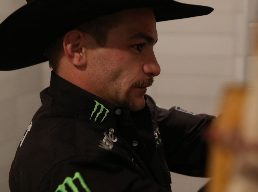 Chase Outlaw in the Locker Room at the Ford Blue Carpet during the fourth round of the Built Ford Tough series PBR World Finals