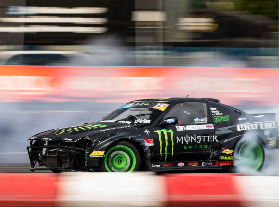 Images of Steve Baggsy Biagioni competing at the first round of the 2018 European Drift Masters Championship - hosted in Poland.