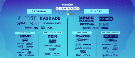 Event poster for the 2018 Escapade EDM music festival in Ottawa, Ontario, Canada