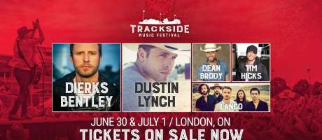Event poster for the 2018 Trackside music festival in London, Ontario, Canada.