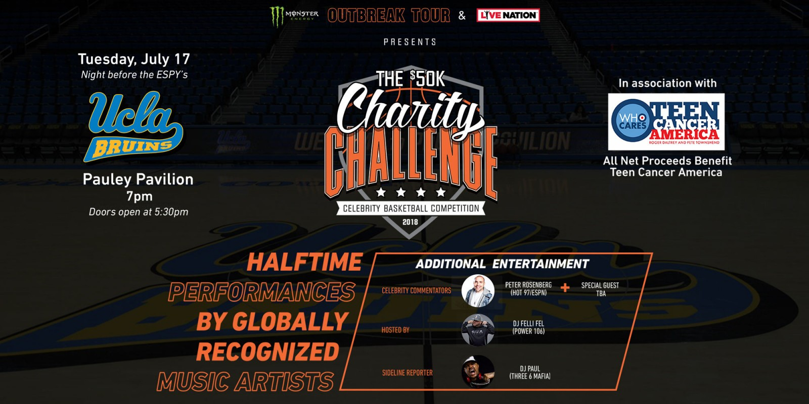 2018 web event hero for the 50k charity basketball game outbreak