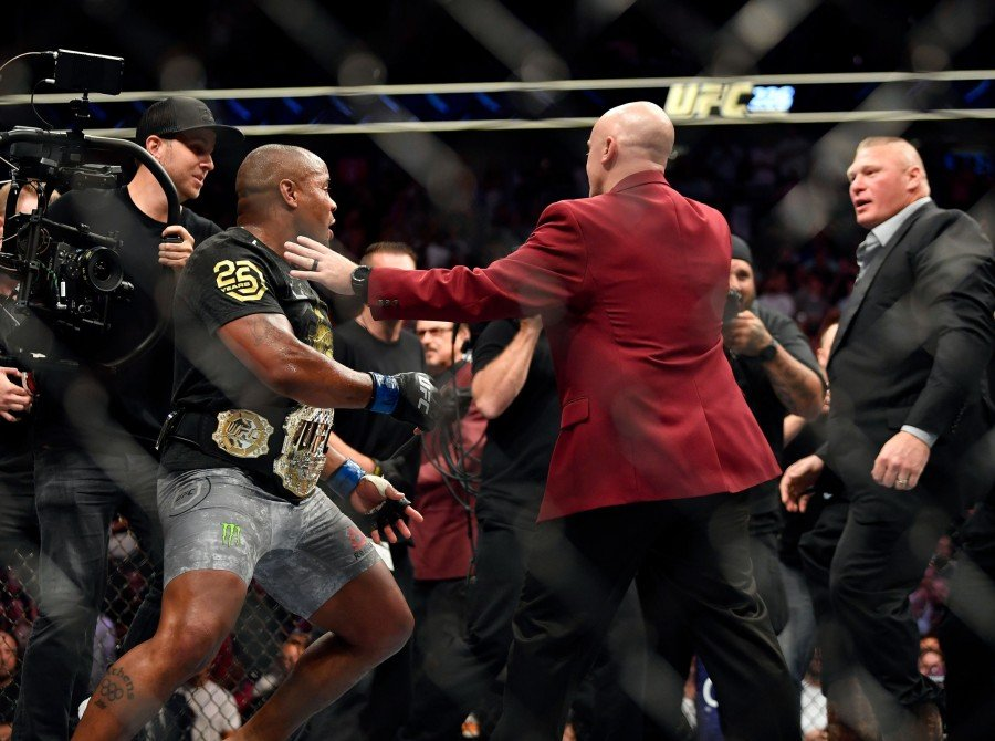 Miocic v Cormier: in their heavyweight title bout during the UFC 226 event inside T-Mobile Arena on July 7, 2018 in Las Vegas, Nevada