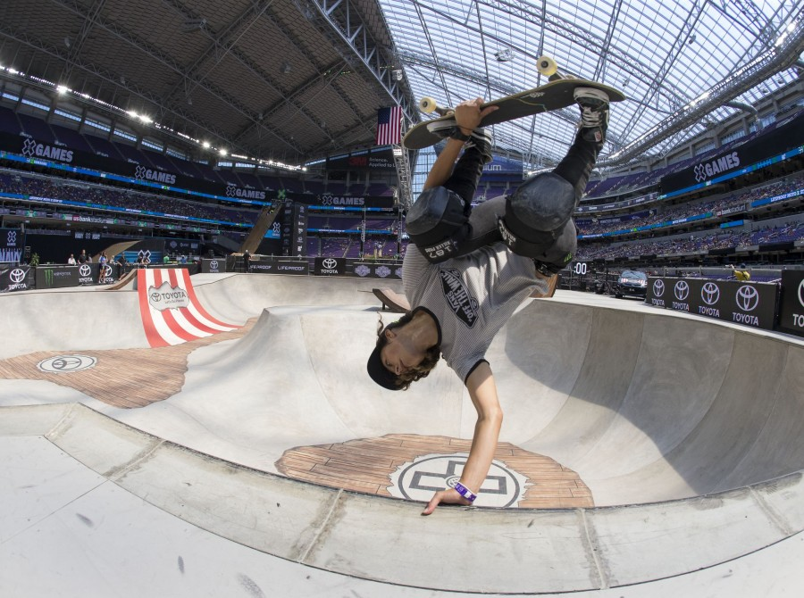 Images from the skateboard athletes at Summer X Games in U.S. Bank Stadium in Minneapolis, Minnesota