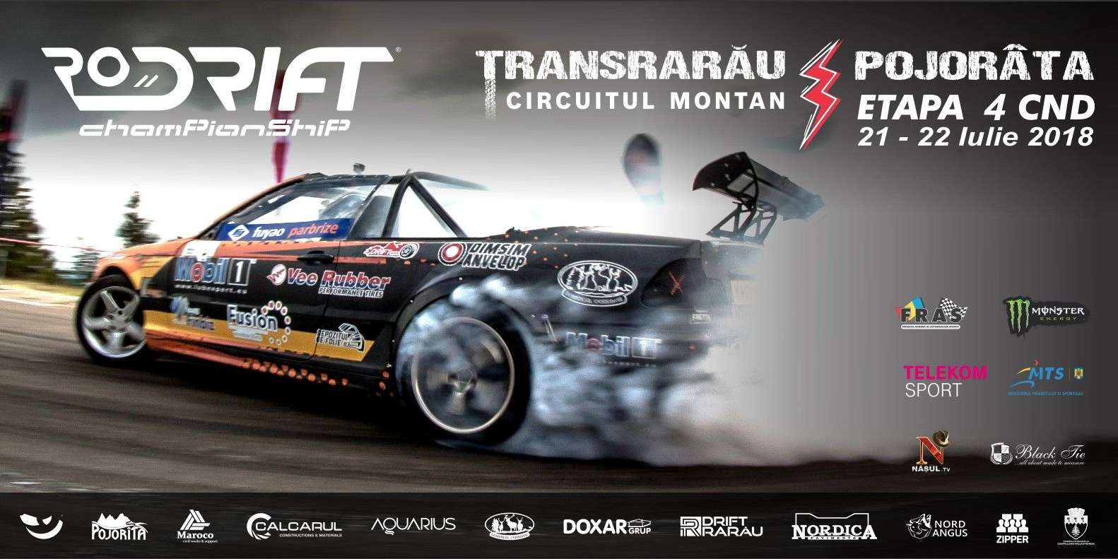 Poster for the 4th stage of the Romanian Drift Championship. We have a valid contract with the event and also have a sponsored rider in the Championship.