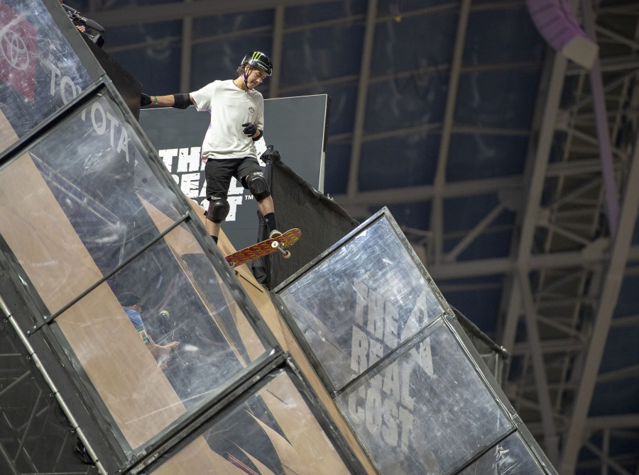 Monster athletes compete in the Big Air Skate competition at the Summer X Games in Minneapolis