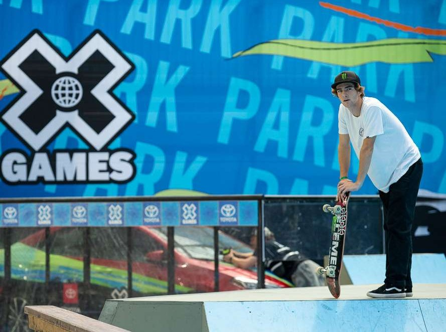 Tom Scharr wins bronze at the Mens Skateboard Park for the 2018 Summer X Games