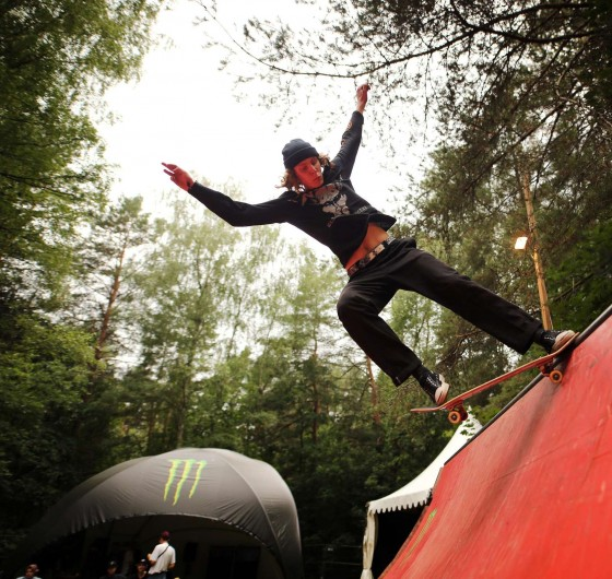 Rock and metal music festival - Devilstone. Monster Energy area with a mini ramp and bmx&skate sessions and barber shop. The skater in photo- Žygimantas Rudys