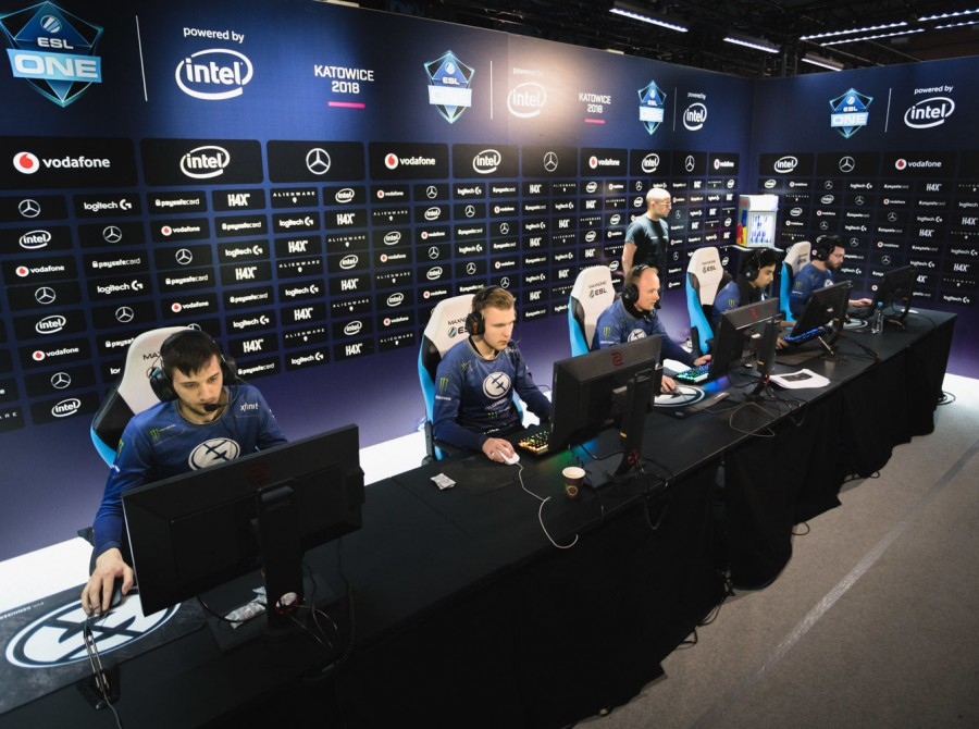 Photos of Evil Geniuses Dota 2 team at the ESL Katowice Dota 2 Major in Katowice, Poland where EG took 5th-6th`