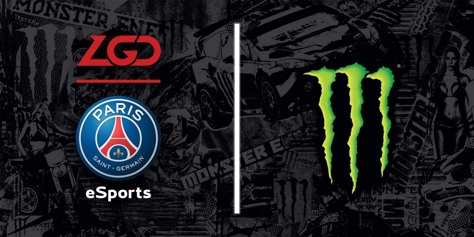 Hero image for Monster Energy's announcement of LGD sponsorshipHero image
