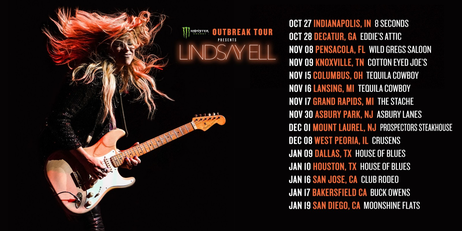 Assets to promote the Monster Energy Outbreak Tour for Lindsay Ell