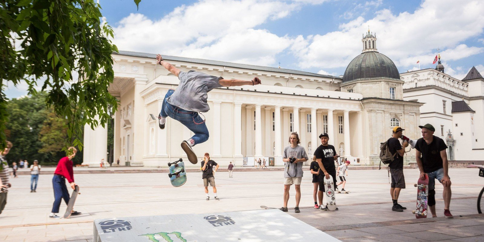 International Go Skateboarding Day 2018 in Vilnius. Guys hitting the streets of Vilnius.