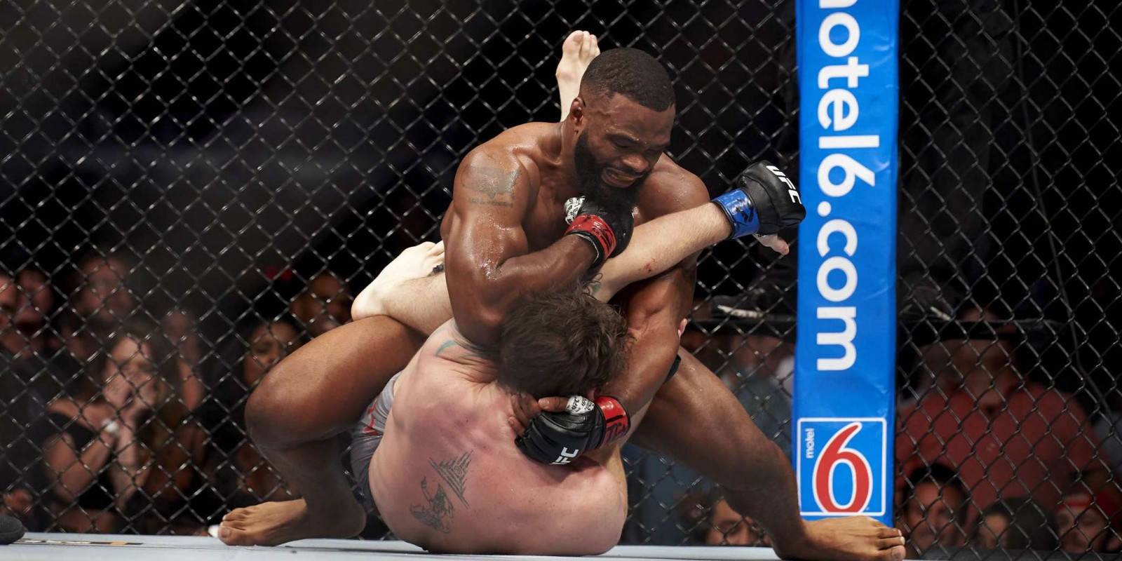 Tyron Woodley celebrates after defeating Darren Till during the UFC 228 event at American Airlines Center on September 8, 2018 in Dallas, Texas
