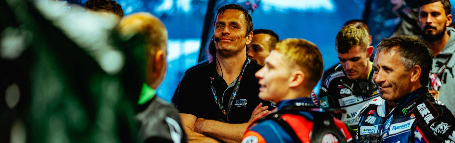 Images of Speedway Grand Prix Race Director Phil Morris from the Scandinavian GP