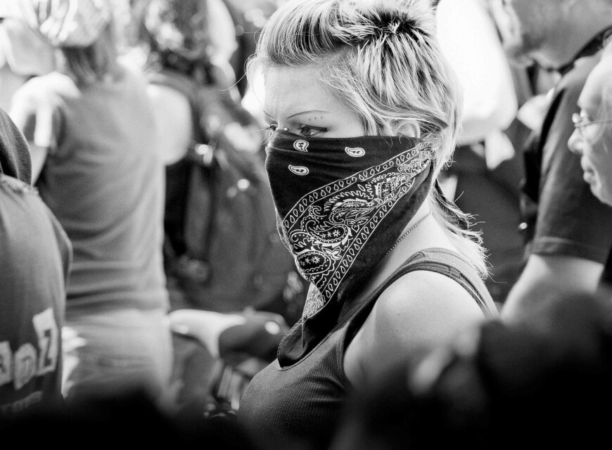 girl with bandana in crowd