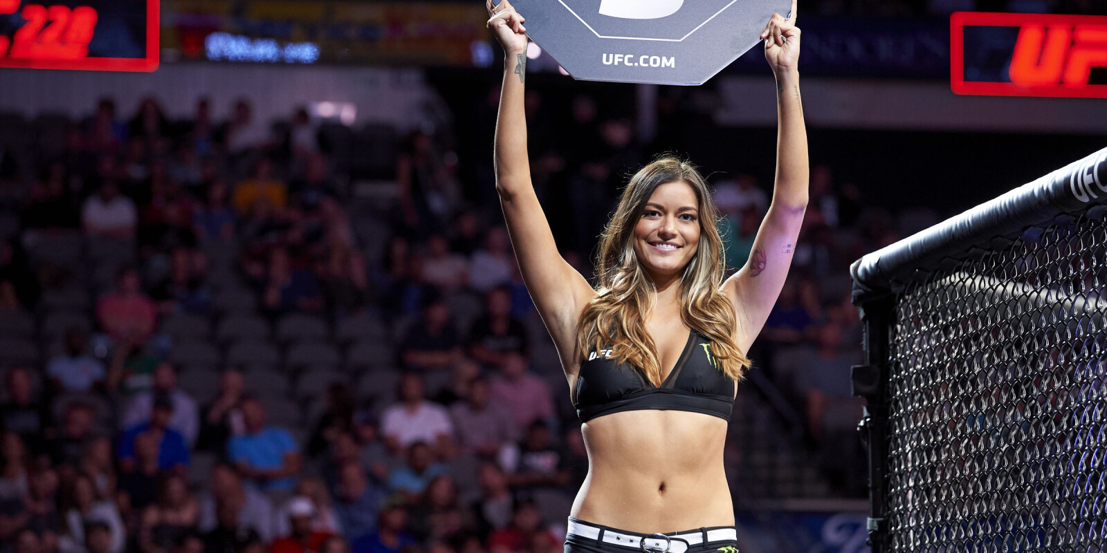An Octagon Girl walks around the Octagon during the UFC 228 event at American Airlines Center on September 8, 2018 in Dallas, Texas