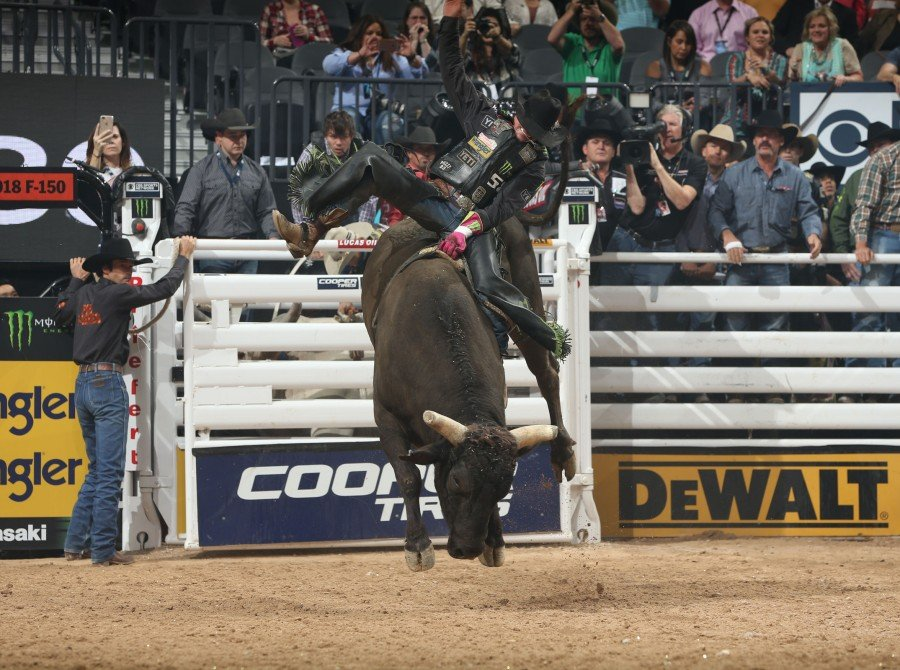 Chase Outlaw rides Flying S Bucking Bulls's La Malta for 89 during the fifth round of the Built Ford Tough series PBR World Finals