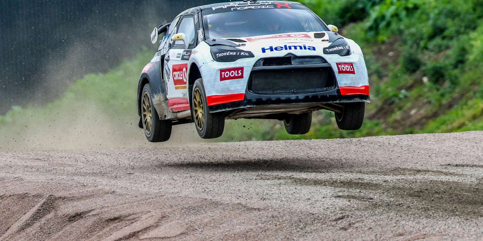 Images of Oliver Solberg at the final round of the 2018 RallyX Nordic Championship