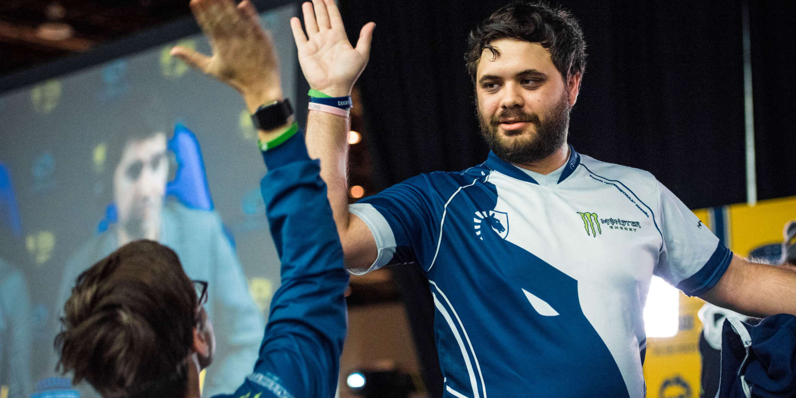 Photos of Team Liquid Smash players at The Big House, Hungrybox and Salem, with Coach Crunch. Hungrybox wins!