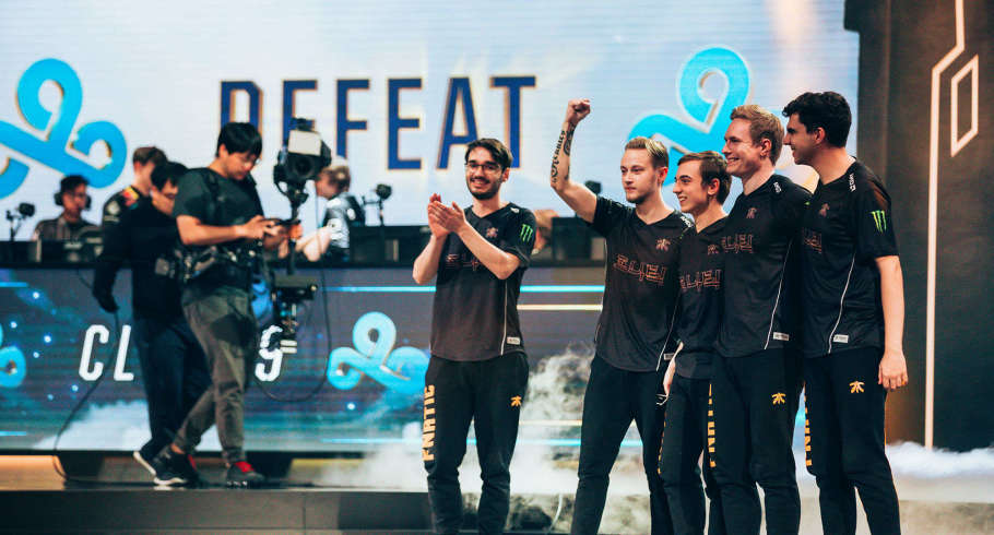 Photos of Fnatic in their semi final match versus Cloud9 at League of Legends worlds 2018 in Seoul South Korea