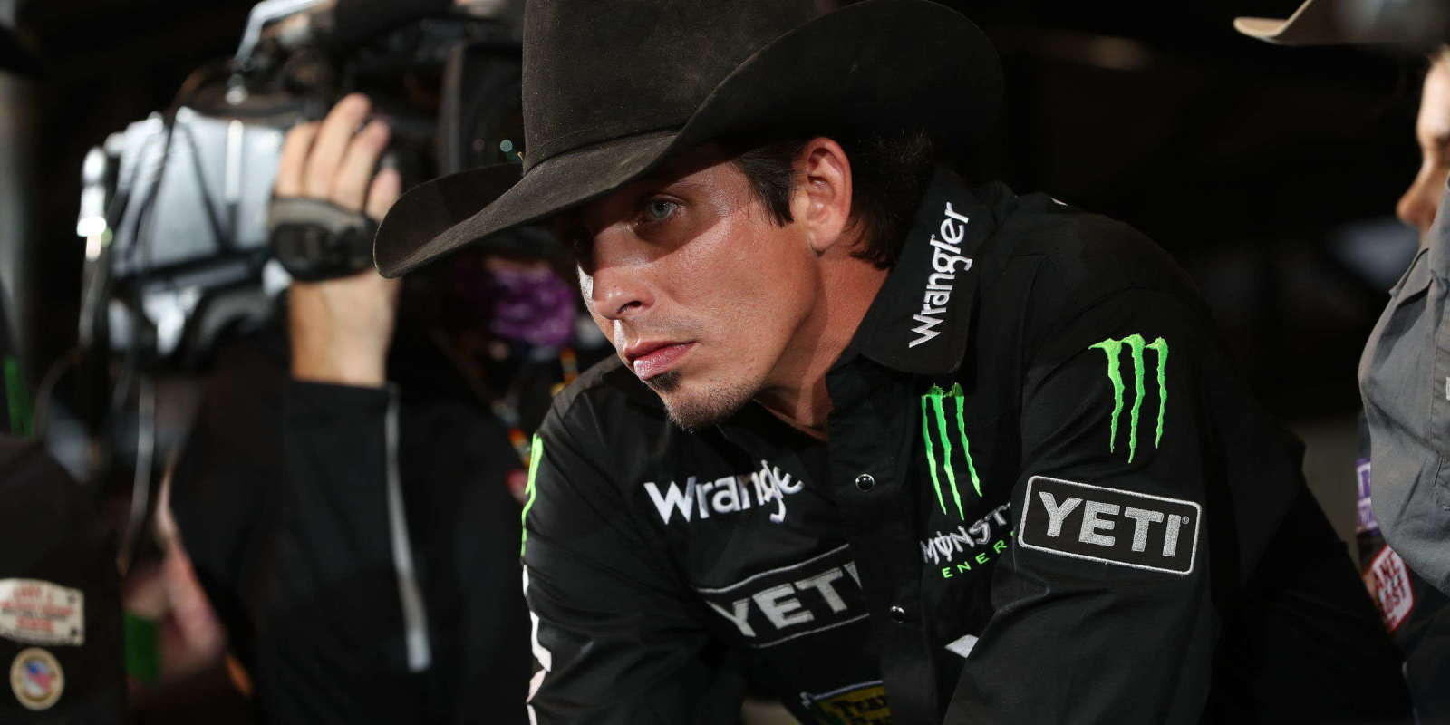 Half dozen Monster Energy bull riders readying themselves for PBR World Finals