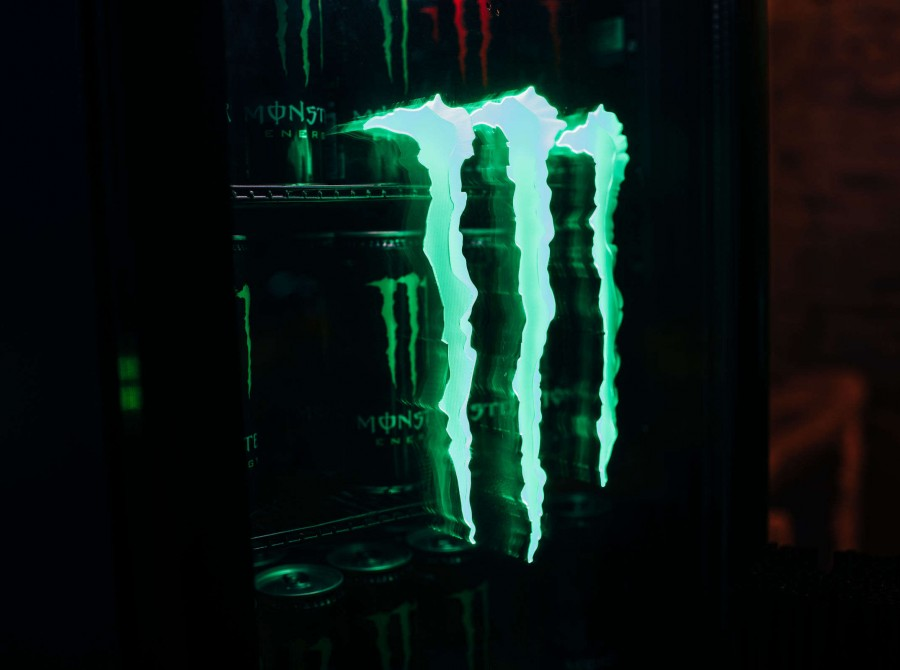 Monster Energy product launch party in Kiev, Ukraine - a cooler with Monster cans