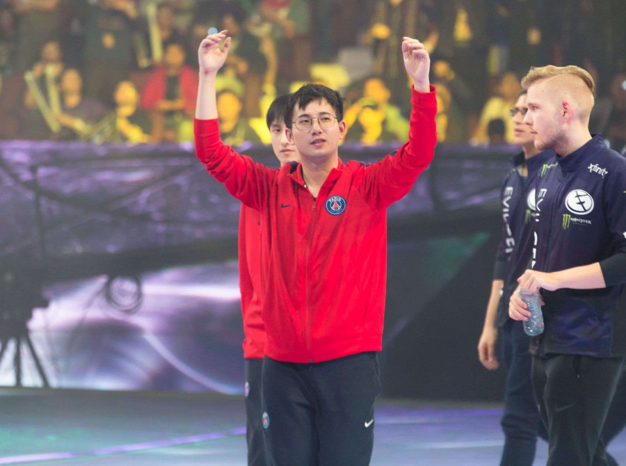 Photos of PSG.LGD's Dota 2 team competing in The International 2018 in Vancouver, Canada