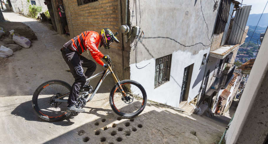 The Monster Energy crew ready to descend Downhill Taxco 2018