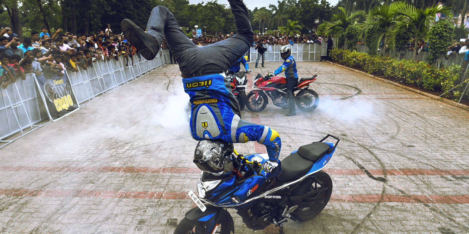 Ghost Ryderz, a professional stunt biking team of about 30 members that's been performing since 2007. Used as ambassadors for India Monster launch