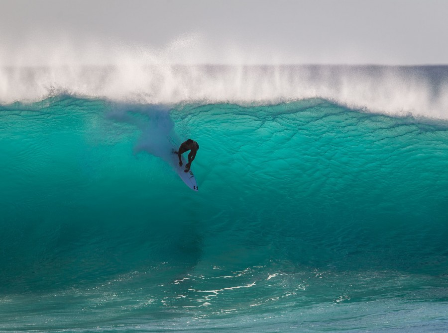 Seth Moniz competing at the Billabong Pipe Masters