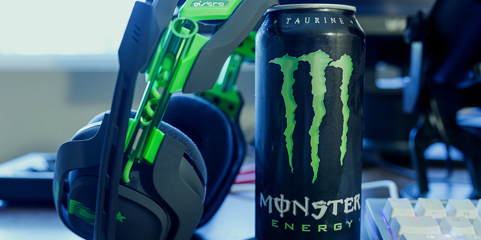 Photos of a Monster can with Astro headphones