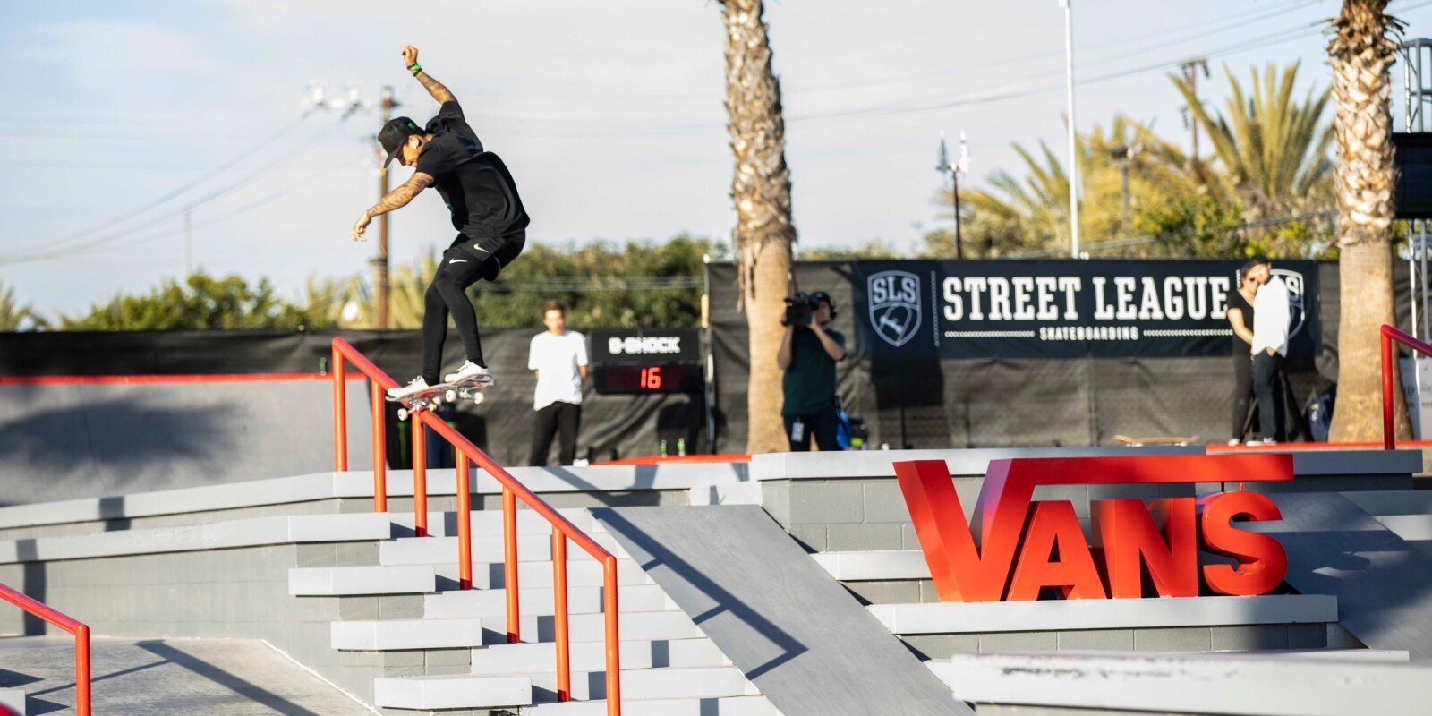 Monster athletes compete at the 2018 SLS stop in Huntington Beach, CA