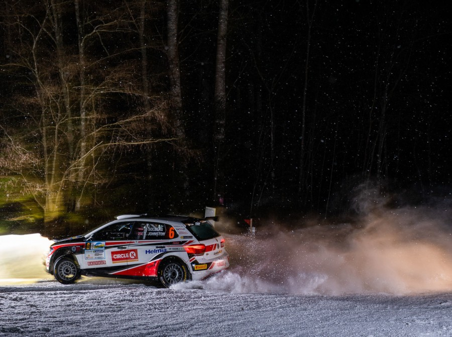 Images of Oliver Solberg competing in the 2019 Rally Aluksne in Latvia