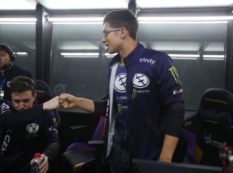 Photos of Evil Geniuses Dota 2 team as the compete in the Chongqing Major. The team finished third place in the tournament.