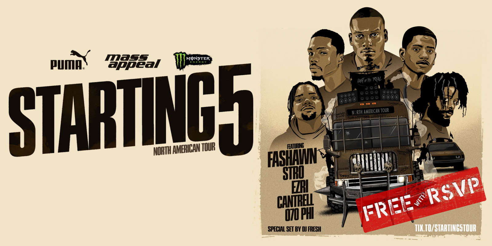 Starting 5 tour sponsored by Monster Energy, announcement assets
