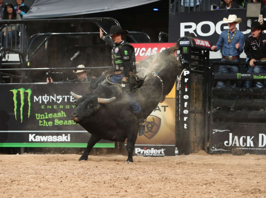 Monster professional bull riders competing at PBR World Finals in Las Vegas