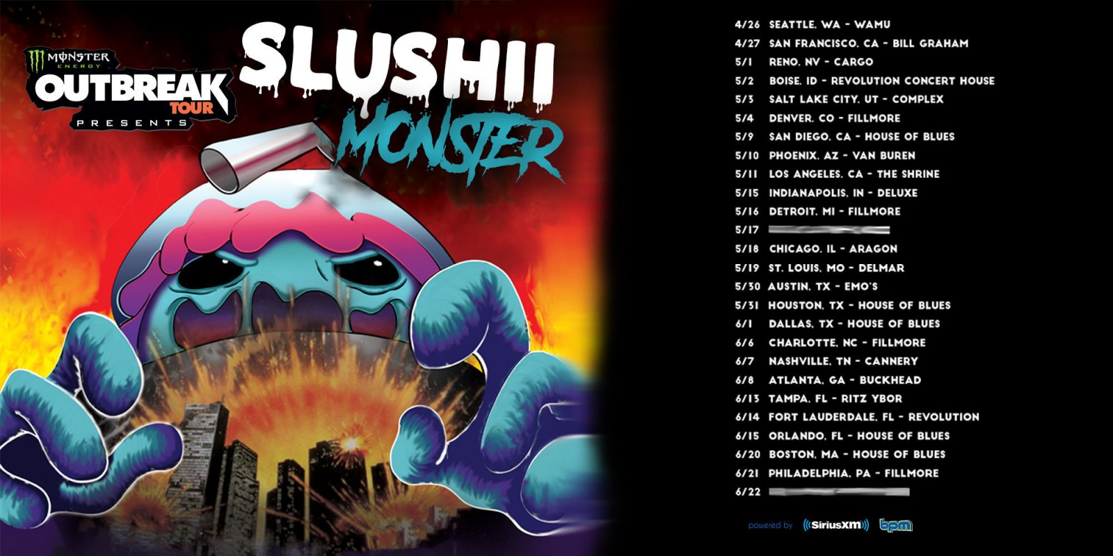 Monster Energy Outbreak Tour featuring Slushii announcement assets