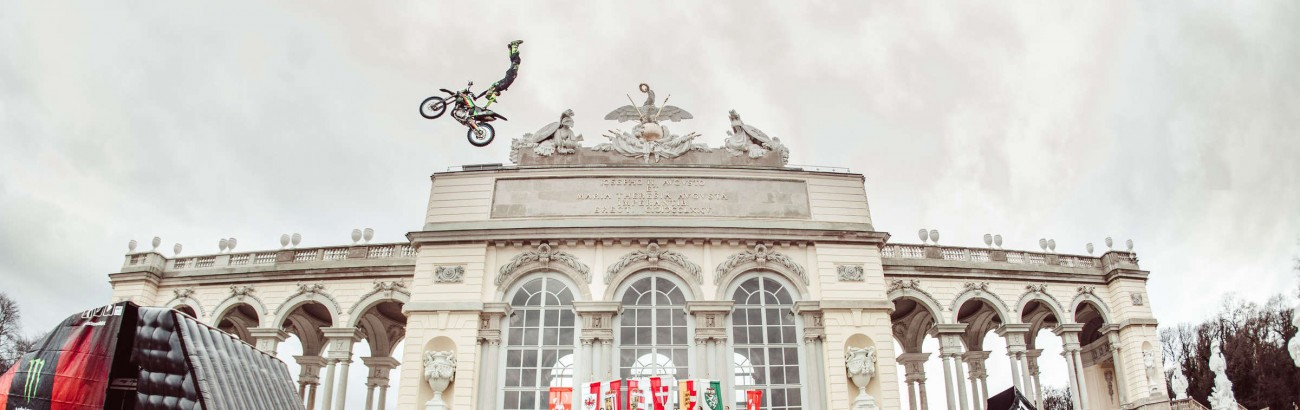 Media activation stunt for Masters of Dirt 2019, Edgar Torronterras doing a trick jump in front of the historic Gloriette in Vienna