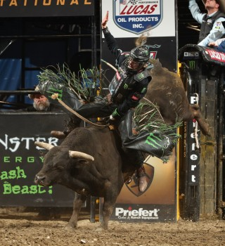 Derek Kolbaba rides M Rafter E Bucking Bulls's Mission Impossible for 82.5 during the second round of the Chicago PBR Unleash The Beast.