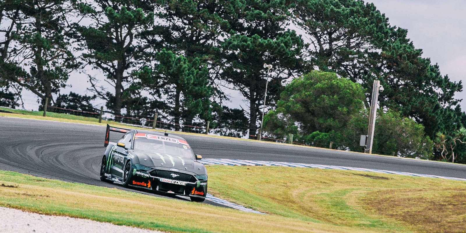 Cam Waters testing the Monster Mustang for V8 Supercars Championship 2019
