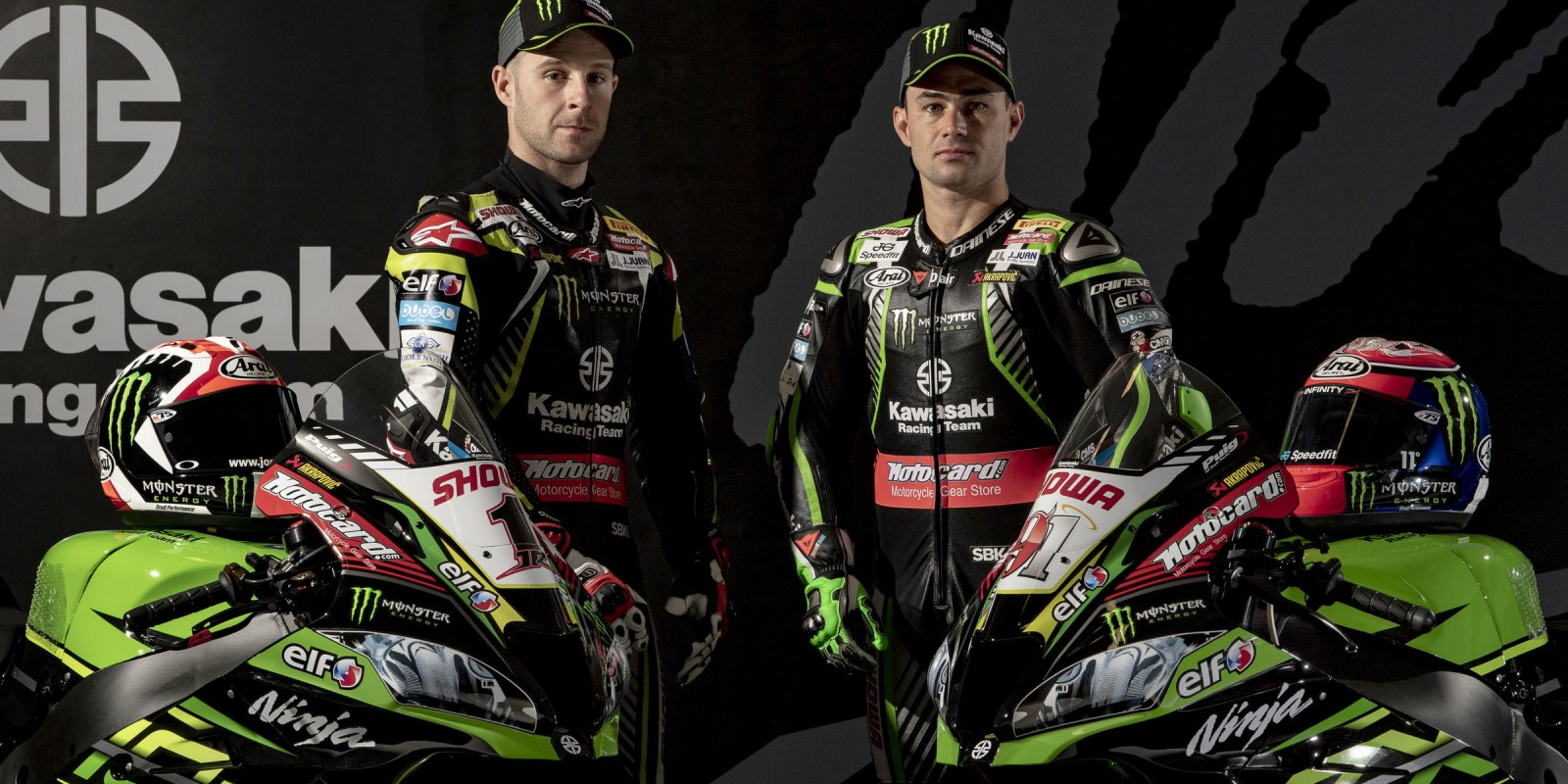 Jonathan Rea and Leon Haslam at the 2019 Monster Energy Kawasaki Photoshoot
