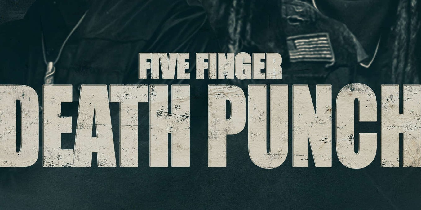 five finger death punch hero promo photo shot arena tour on stage in front of purple skull